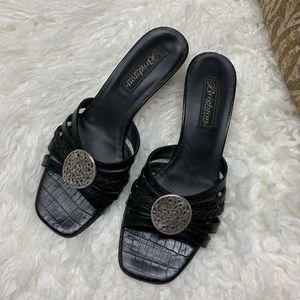 Brighton Black and Silver Kyoto Kitten Heel 7.5 N